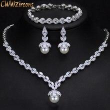 CWWZircons pendientes de Collar para fiesta y boda con zirconia cúbica brillante, Pendientes colgantes de perlas, juegos de joyas para mujer, T252, 3 piezas