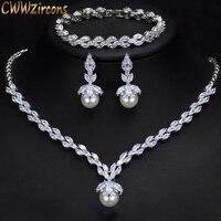 CWWZircons 3 Piece Sparkling CZ Dangle Drop Pearl Bridal Wedding Party Necklace Earrings Bracelet Jewelry Sets