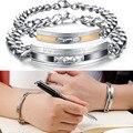 Par brazalete de acero inoxidable pulsera hombres mujeres amante de lujo crystal joyería del encanto de la moda pulsera de cadena al por mayor GS709