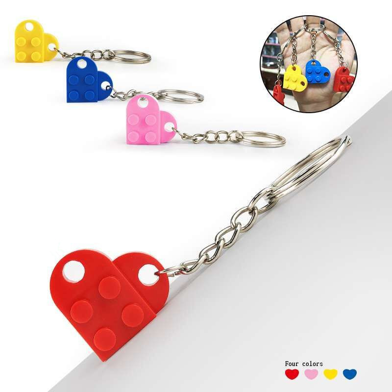 50PCSset Key Chain Blocks Heart Blocks Toy Brick Building Blocks Accessories Keychain Block Model Kits Set DIY Toys for Kids (4)