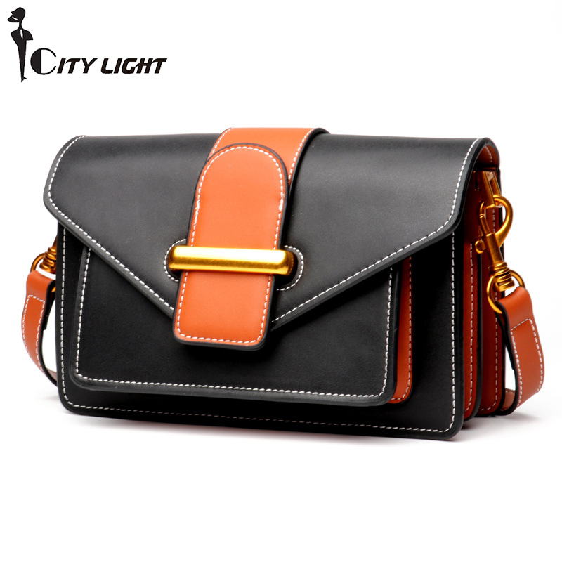 Genuine Leather Women Flap Messenger Bag Brand Designer Ladies Small Shoulder Bags Real Leather Handbag Fashion Crossbody Bolsos new fashion women bag ladies messenger bags 2017 crossbody shoulder bag woman leather black knitting small flap designer brand 3