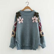 bd9fd3cda Primavera de las mujeres de invierno cálido suéter Jersey hecho a mano  cuentas flor bordado cuello