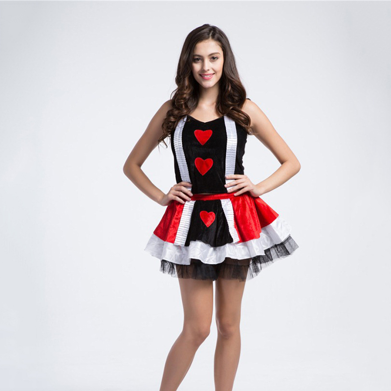 VASHEJIANG Anime Alice in Wonderland Queen of Hearts Costume Fancy Dress Kigurumi Queen Fantasia Cosplay Halloween Costumes