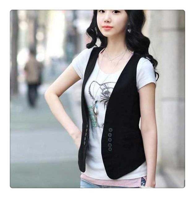 Korean fashion solid color Black vest for women Summer Autumn cotton coat ladies camouflage Botton M L cardigan hot sale top