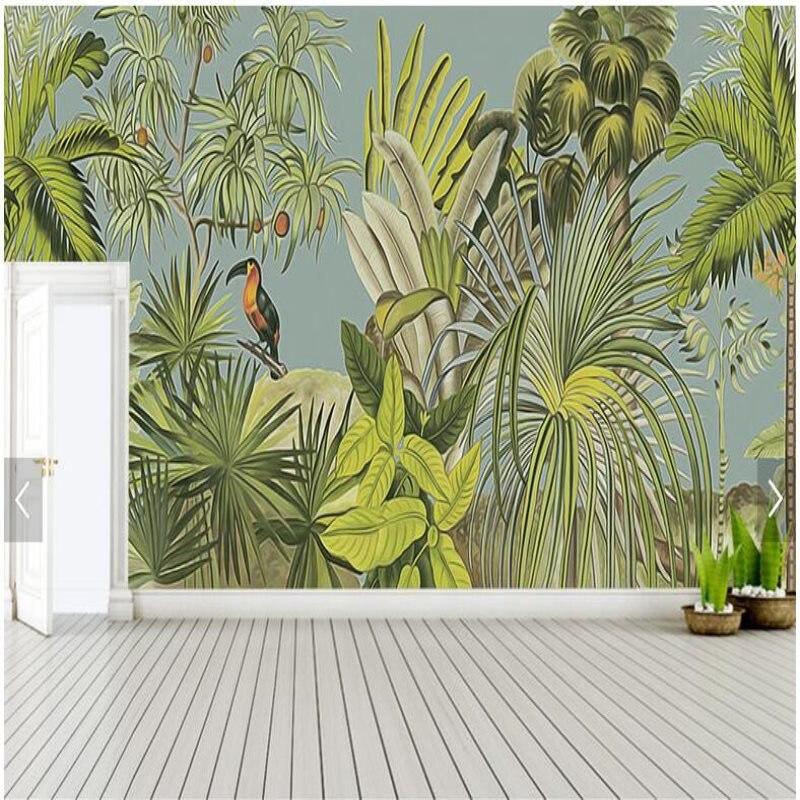 Papier peint mural rétro personnalisé forêt tropicale pluie perroquet feuille de palmier papier peint salon TV fond papier peint