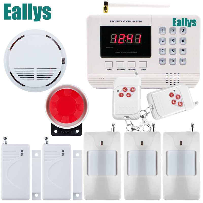 Free shipping Home Wireless GSM PSTN Alarm System Intelligent Home Security PSTN Alarm System with Smoke Sensor