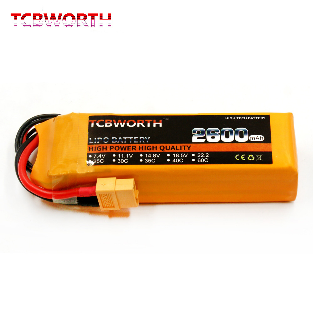 TCBWORTH 3S RC LiPo battery 11.1V 2600mAh 25C For RC Airplane Quadrotor Helicopter Drone Li-ion battery AKKU Bateria mos rc airplane lipo battery 3s 11 1v 5200mah 40c for quadrotor rc boat rc car