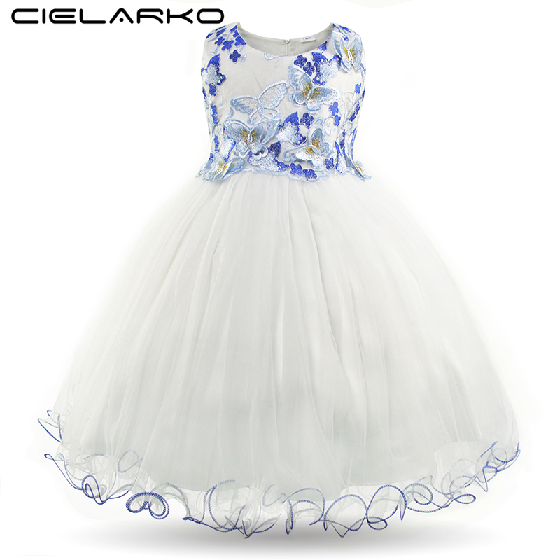 Cielarko Girls Dress Butterfly Kids Flower Dresses Appliques Mesh Children Wedding Party Frocks Formal Baby Gowns for Girl