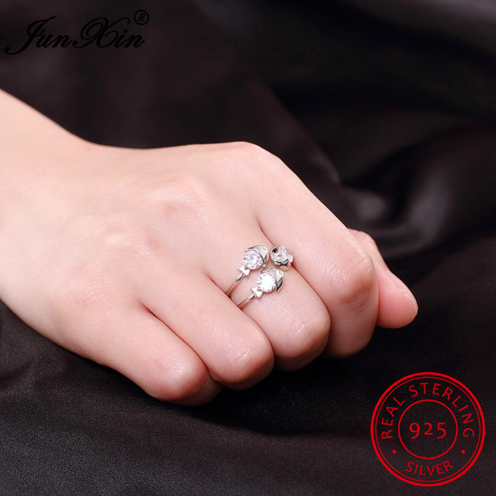 JUNXIN Unique AAA Zircon 100% 925 Sterling Silver Finger Ring Fish ...