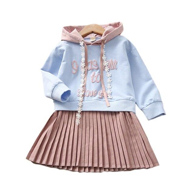 Детская Костюмы платья для девочек 2018 толстовки Демисезонный С Длинным Рукавом Плиссированное платье Детские платья для девочек Vestido, детская одежда