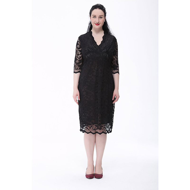 Women Lace Dress Half Sleeve Plus Size 2017 Summer Spring Clothes for Pregnant Women V-Neck Ladies Party Dresses Black 6XL Sale