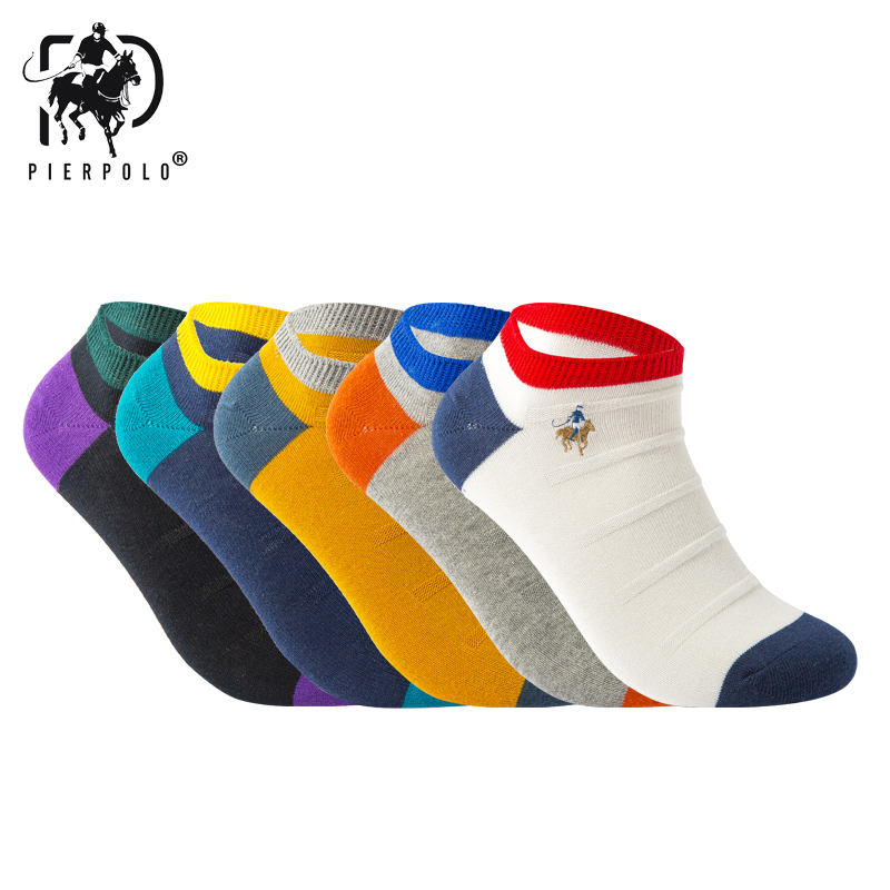 5pairs/lot PIERPOLO Summer Men Cotton Socks Casual Short Funny Ankle Meia calcetines High Quality Brand sokken for man