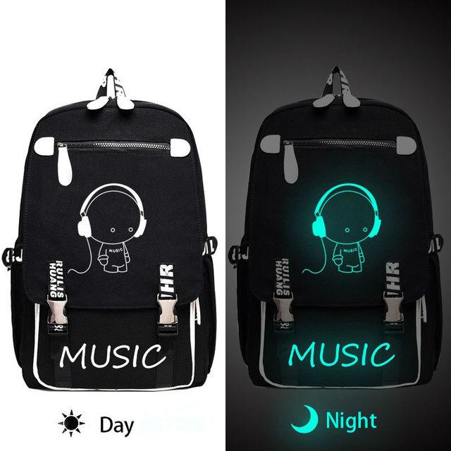 Women Men Cartoon Music Backpack S Boys Luminous Fashion Childrens School Book Bag Travel