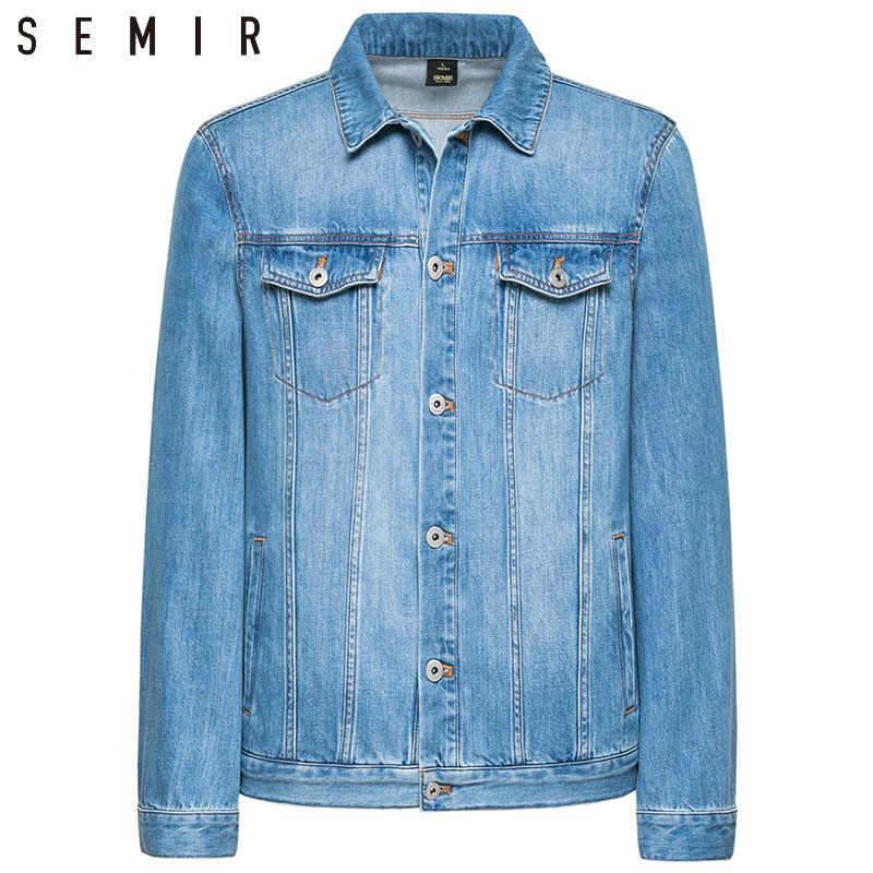 SEMIR Denimเสื้อผู้ชายเสื้อสีน้ำเงินเข้มเสื้อลำลองDenim Cotton Turn-DownคอยาวแขนยาวDenimแจ็คเก็ตสำหรับMan