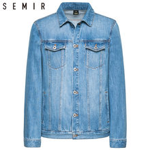 SEMIR denim Jackets men coat dark Blue Casual Teens Denim Jacket cotton Turn-down Collar Long Sleeve Denim Bomber jackets(China)