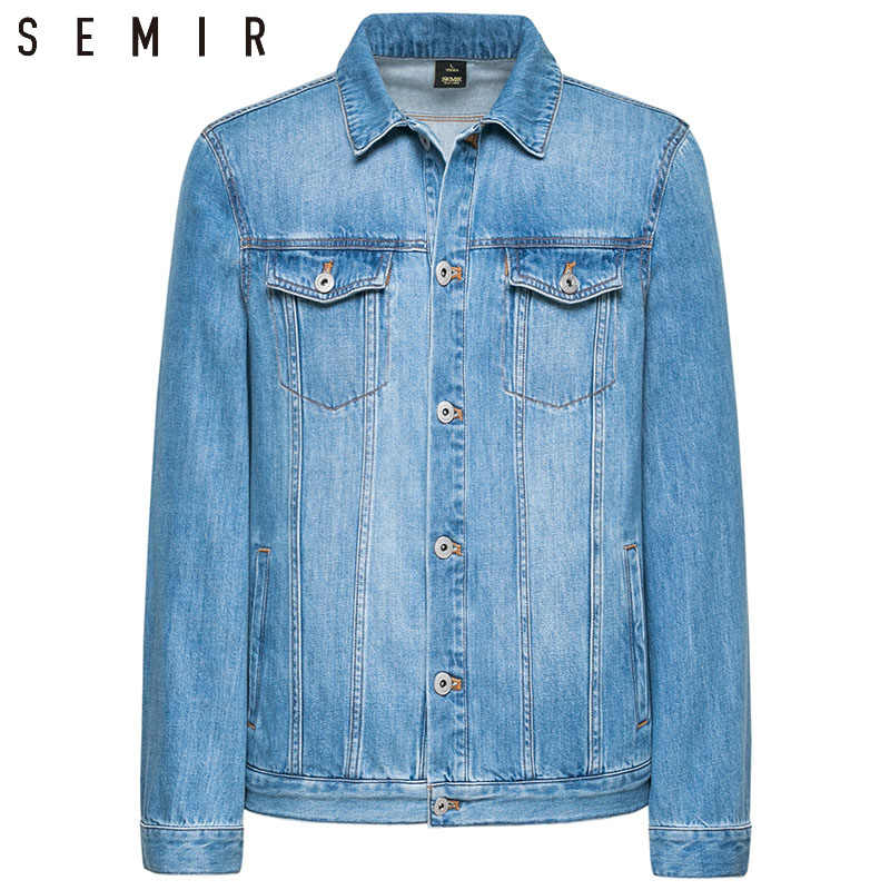 SEMIR 데님 재킷 남자 코트 다크 블루 캐주얼 데님 재킷 코튼 턴 다운 칼라 긴 소매 데님 폭격기 재킷 남자에 대한