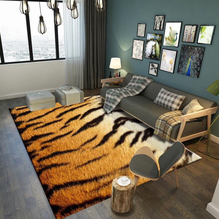 Style nordique grande taille flanelle zone tapis Animal Imitation léopard salon chambre tapis couverture douce couverture tapis de sol