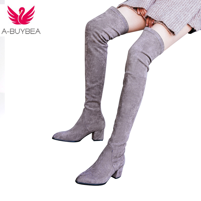 2017 New Women Winter Genuine Leather fashion Over-the-Knee High Boots Fashion ladies Woman Round toe Shoes Womens Black Boots ppnu woman winter nubuck genuine leather over the knee snow boots women fashion womens suede thigh high boots ladies shoes flats