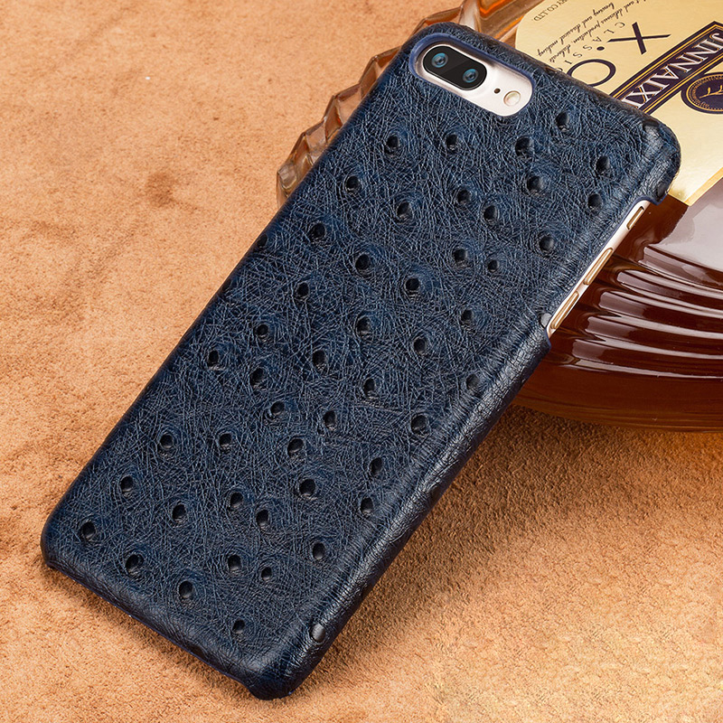 Genuine Cowhide Leather Phone Case For Iphone 7 8 6 6s Plus Ostrich Grain Armor Coque For Iphone Xr X Xs Max Luxury Marvel Funda