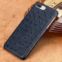 Genuine Cowhide Leather phone case for iphone 7 8 6 6s plus ostrich grain Armor coque xr x xs max luxury marvel funda