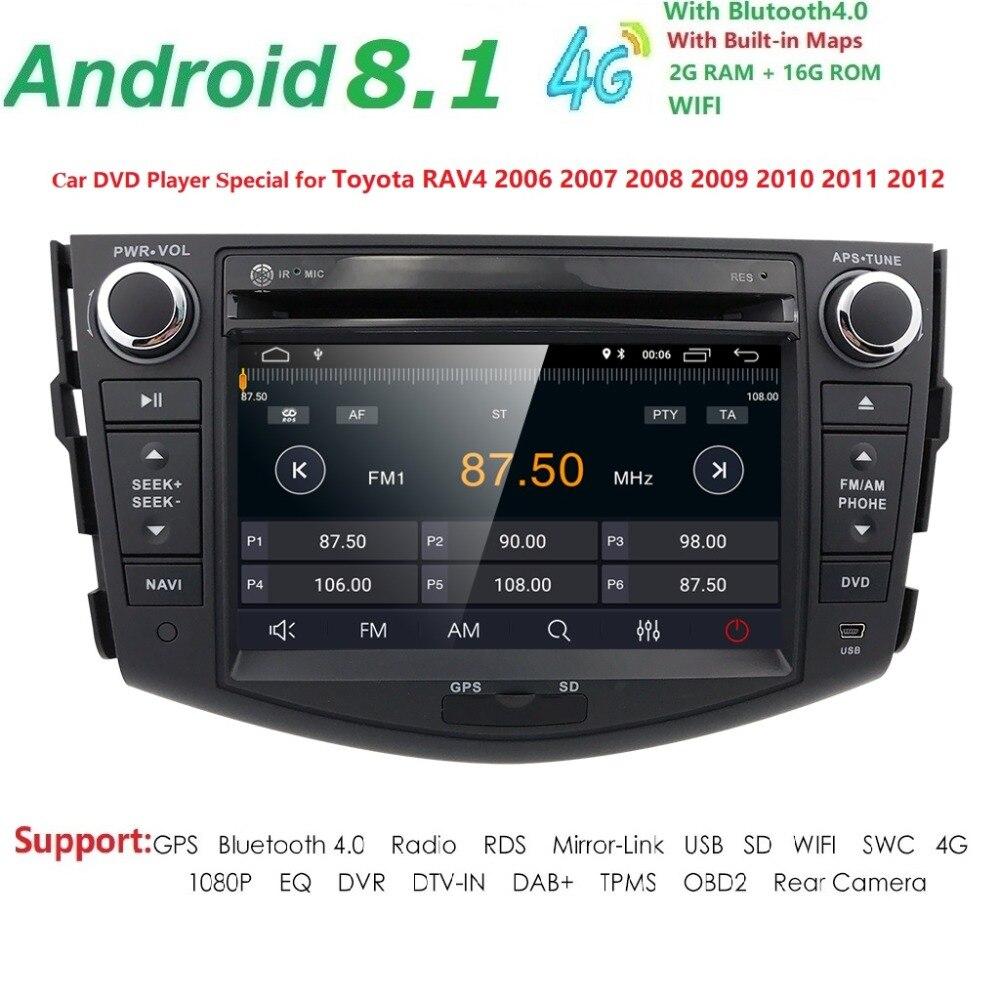 Hizpo NOUVEAU! !! Lecteur dvd de voiture 4G Android 8.1 pour Toyota RAV4 Rav 4 2007 2008 2009 2010 2011 2din 1024*600 voiture dvd gps wifi rds DAB