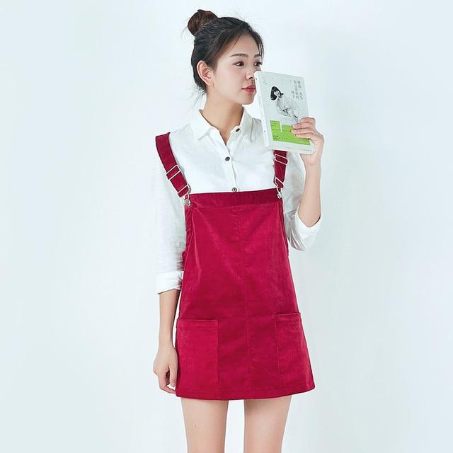 619ac99a23d 2018 Women Summer Thin Corduroy Strap Mini Dress Mori girls Cute Corduroy  Overalls Female Vintage Suspender