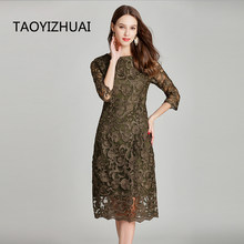 TAOYIZHUAI New Arrival Summer Vintage style Large Size Three Quarter Sleeves Loose Elegant Flower Print Lace Women's Dress 11644