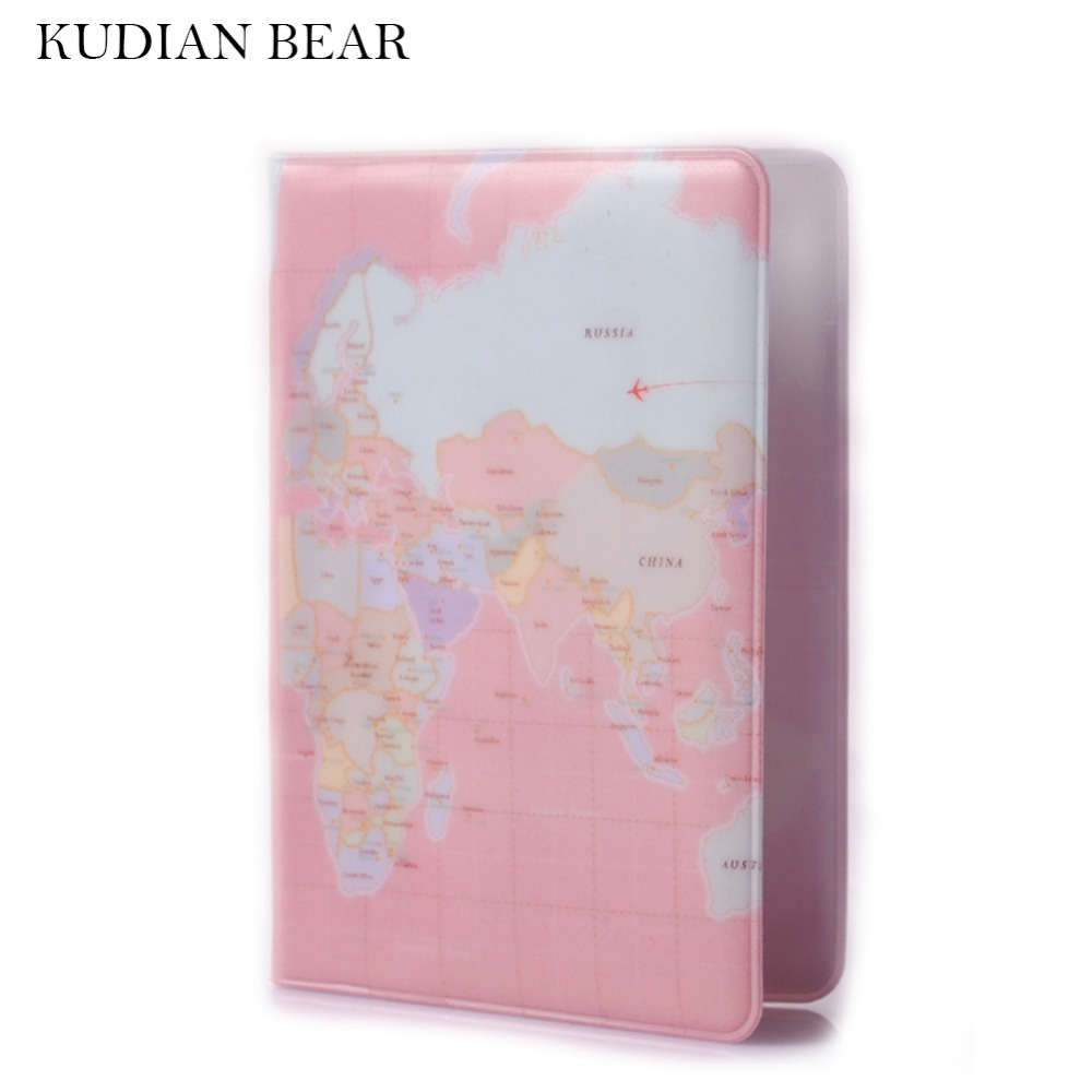 KUDIAN BEAR World Map Passport Cover of the Passport Wallet Female Passport Holder Protective Pochette Passeport -- BIY003 PM30 love and clouds two kinds of styles passport cover passport holder luggage tag silicone strap three pieces