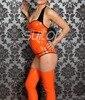Latex Leotard 100 Natural Handmade Rubber Bodysuits In Orange With Socks