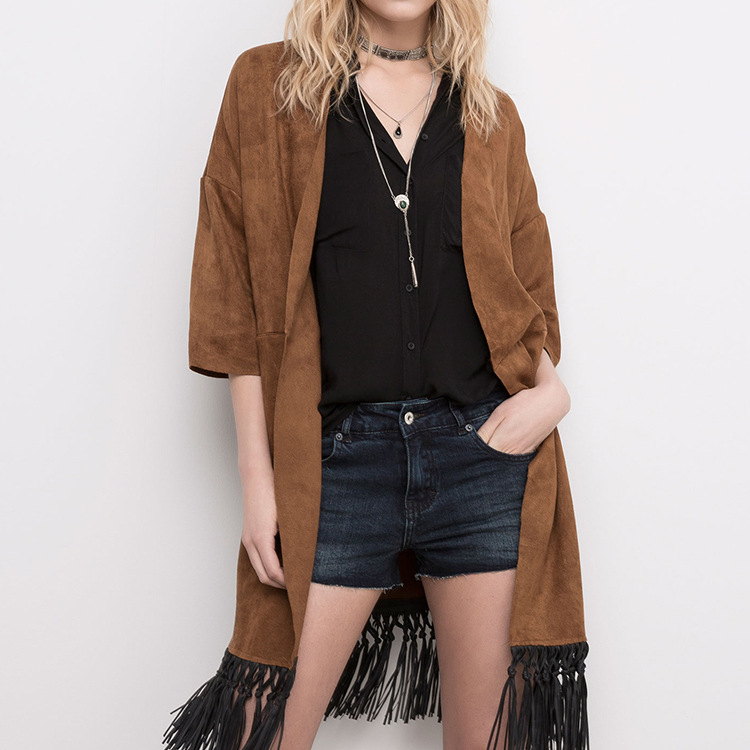 VogaIn Woman 2016 New Fashion LOOSE Long Suede Leather Kimono Cardigan Jacket Half sleeved with Black Faux Leather Fringed hem