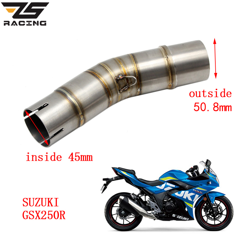 ZS Racing Motorcycle <font><b>Exhaust</b></font> Middle Pipe For <font><b>SUZUKI</b></font> <font><b>GSX250R</b></font> Without <font><b>Exhaust</b></font> image