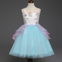 Baby Girl Dress 2019 Baby Girl Clothes Cartoon Applique Mesh Lace Party Dress Girls Sleeveless Princess Dress For 2-6Y