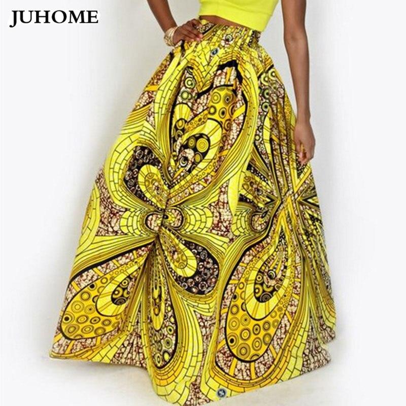 2017 Dashiki Skirt African Print Clothing Boho autumn winter Maxi Skirts Vintage retro high waist Tribal Print jupe longue femme