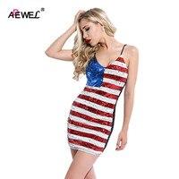 ADEWEL Mới Nhất Hot American Cờ Theme Mùa Hè Ăn Mặc/10 Phong Cách Khác Nhau Thời Trang Dresses/USA Cờ Casual Phụ Nữ Quần Áo