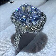 Choucong grande anel de luxo 925 prata esterlina almofada corte 8ct aaaaa zircon cz noivado casamento anéis banda para jóias femininas