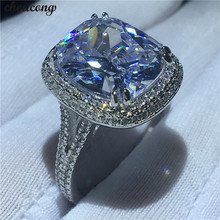 choucong Big Luxury Ring 925 sterling Silver Cushion cut 8ct AAAAA Zircon cz Engagement Wedding Band Rings For Women Jewelry