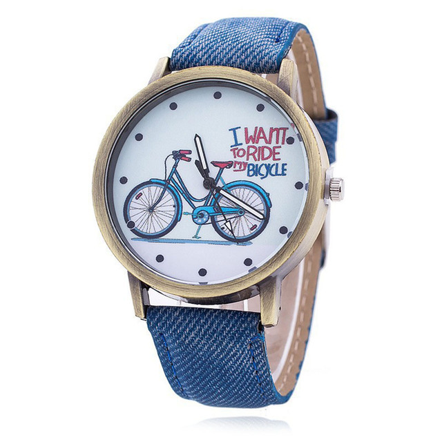 Simple Fashion Women Watches Vintage Bicycle Pattern Casual Quartz Watch PU Leat