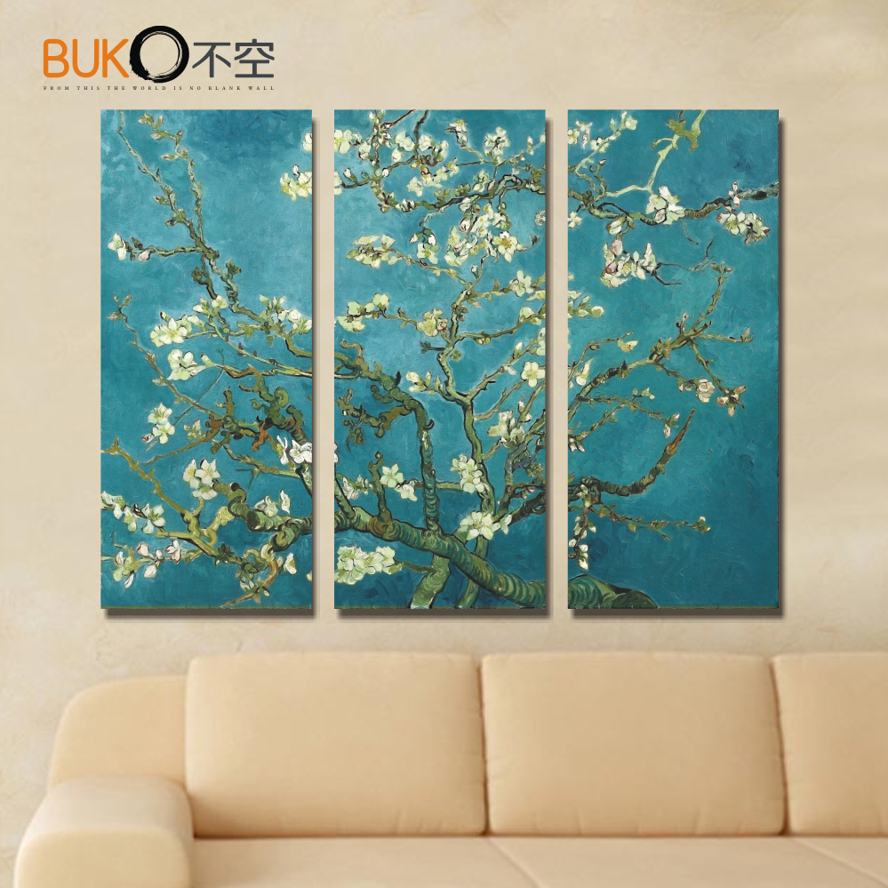 3 panel van gogh orchid wall art canvas painting living for Wall poster for living room