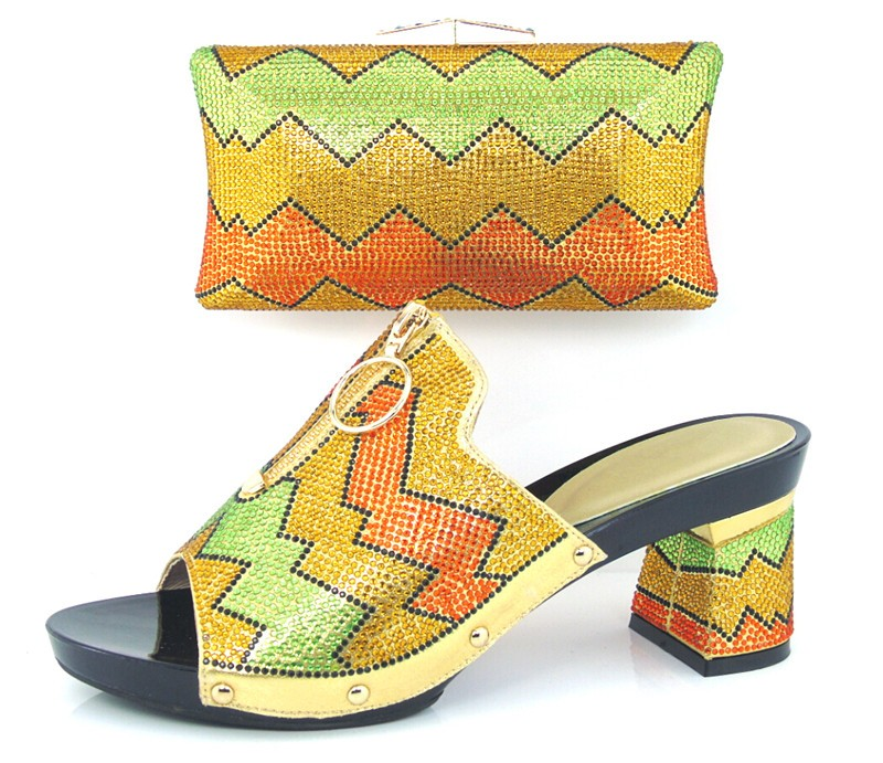 ФОТО African Shoes And Bag Sets With Stones Italian Design High Heel Shoes With Matching Bag For Party And Wedding SG16-102