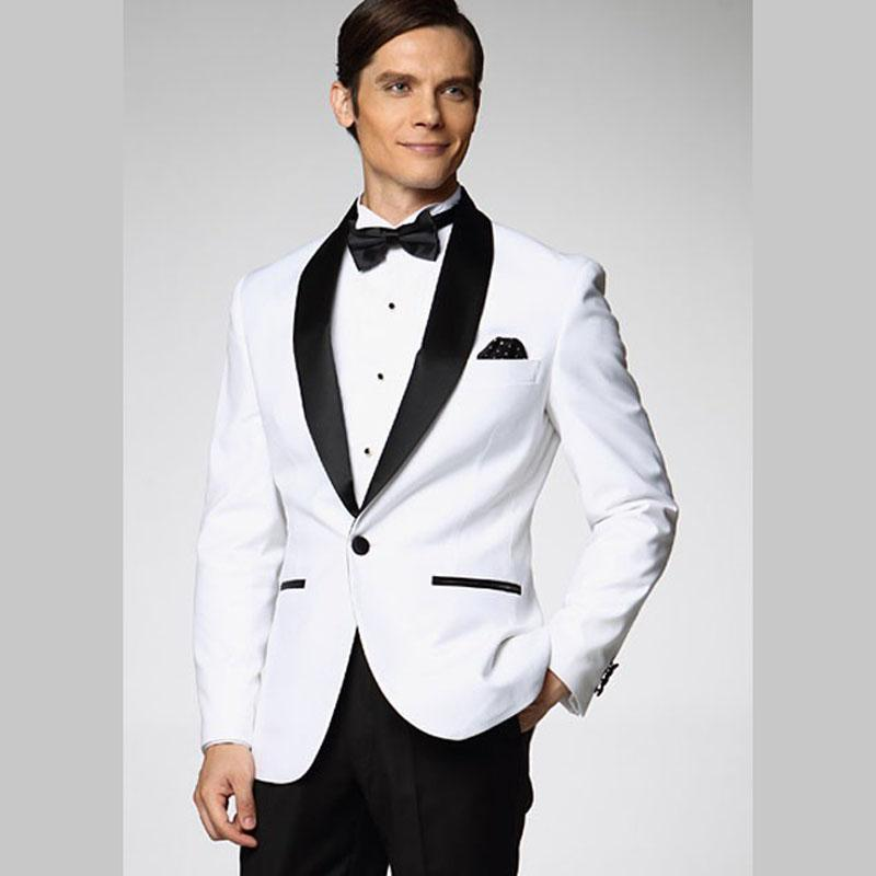 Custom Made White Suits Jacket Pants Formal Dress Men Blazer Wedding