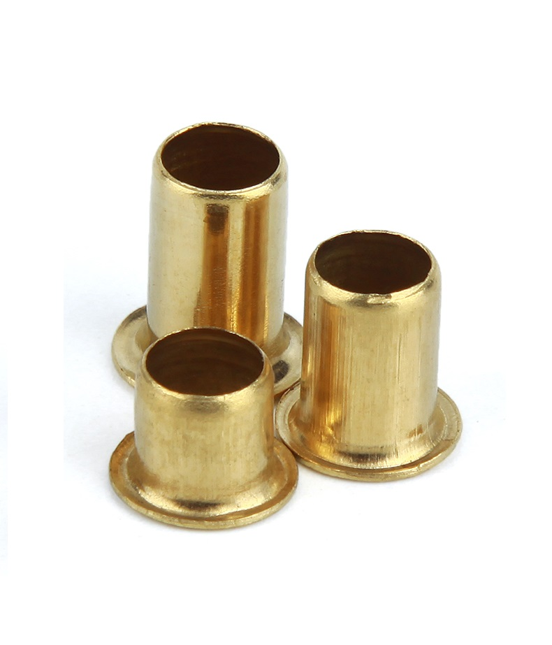 200pcs M2.5 x 9mm Brass Plated Metal Hollow Eyelets Rivets Gold Tone