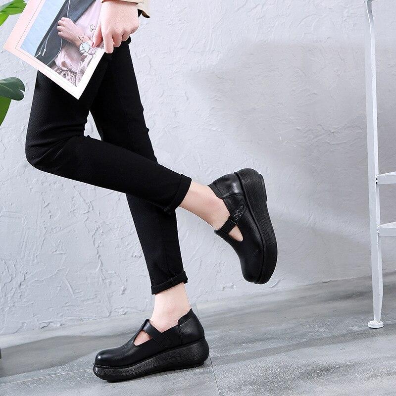 Women Leather Pumps T Strap Shoes 6 Cm High Heels Wedge Pumps Women Spring Shoes Retro 2019 Handmade Genuine Leather Women Pumps