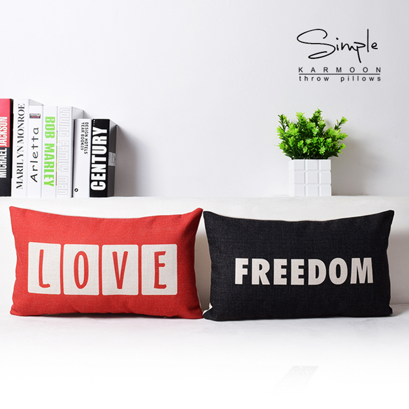 50cm*30cm Rectangle Cushion Cover Nordic Throw Pillow Red Love Black Freedom Linen Lumbar Letters PillowCase Decorative Cojines