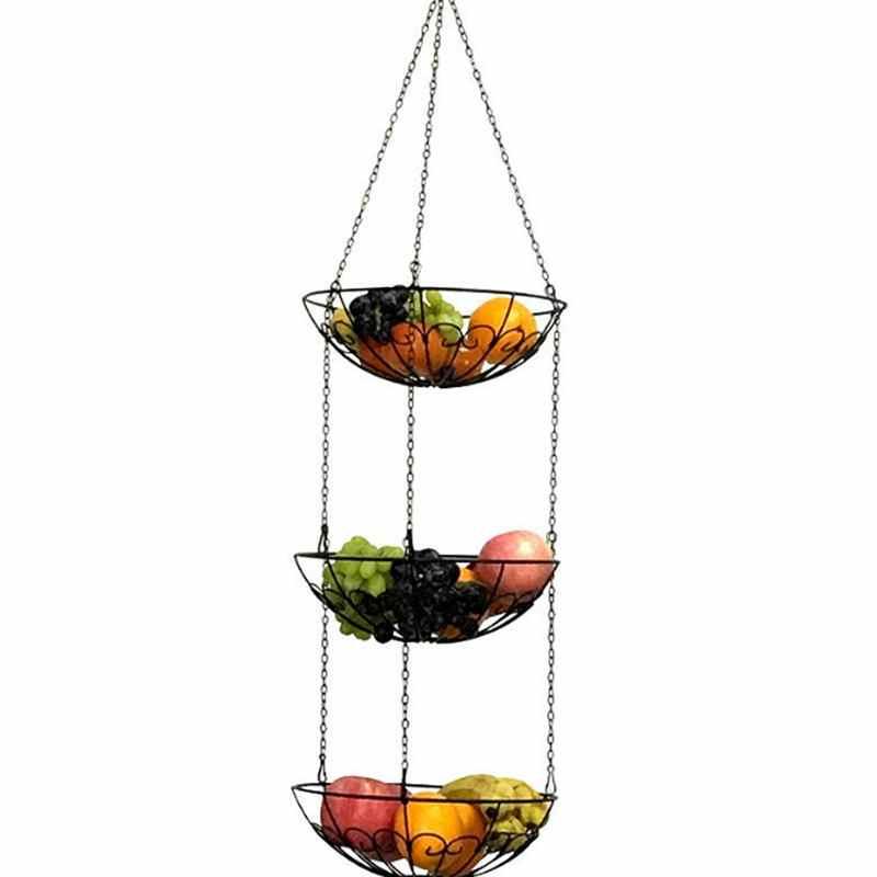 European Style Storage Basket Racks 3-Tier Hanging Kitchen Vegetable Fruit Storage Basket Rack With Iron Chain