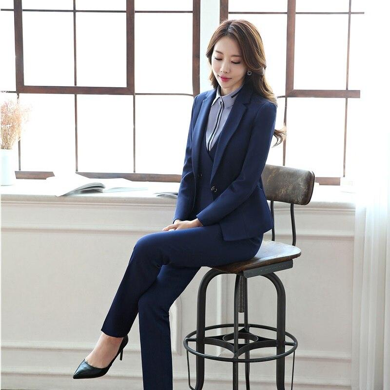 Formal Uniform Styles Blazers Suits With 4 Pieces Jackets + Pants + Vest + Blouse For Business Women Blazer Outfits Plus Size