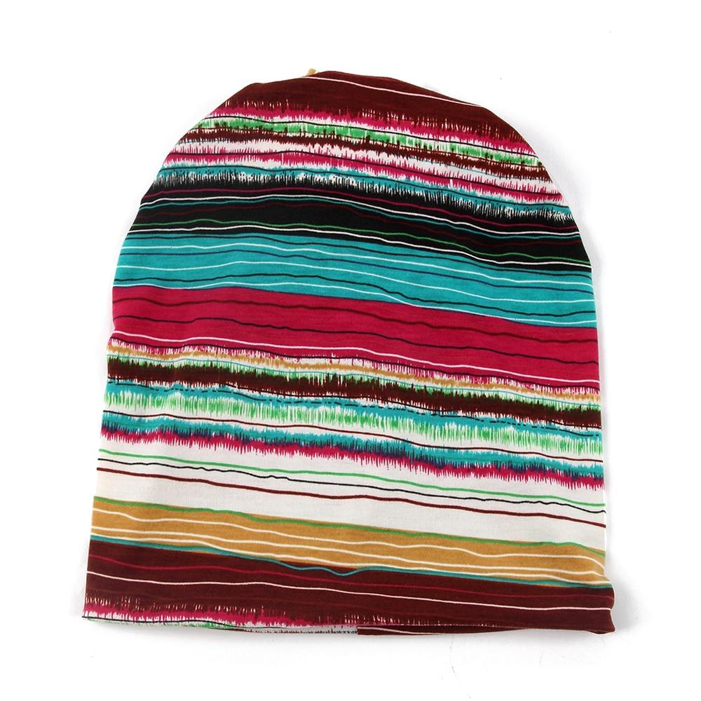 FOXMOTHER Fashion Multifunction Neck Warmer Jersey Striped Skullies Beanies Hats Gorro Turban Chemotherapy Caps Woman Ladies
