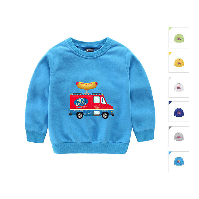 Brand design 100% cotton boys tshirt Cartoon car kids sweaters o-neck pullover sweaters fashion children's clothing black