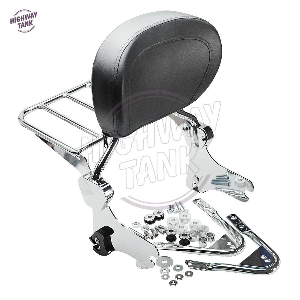 Motorcycle Detachables Backrest Sissy Bar Luggage Rack & Docking Hardware Kit Rear decoration case for Harley Touring Models motorcycle detachables solo luggage rack moto rear decoration mounting case for harley sportster xl1200 xl883 2004 2005 2017