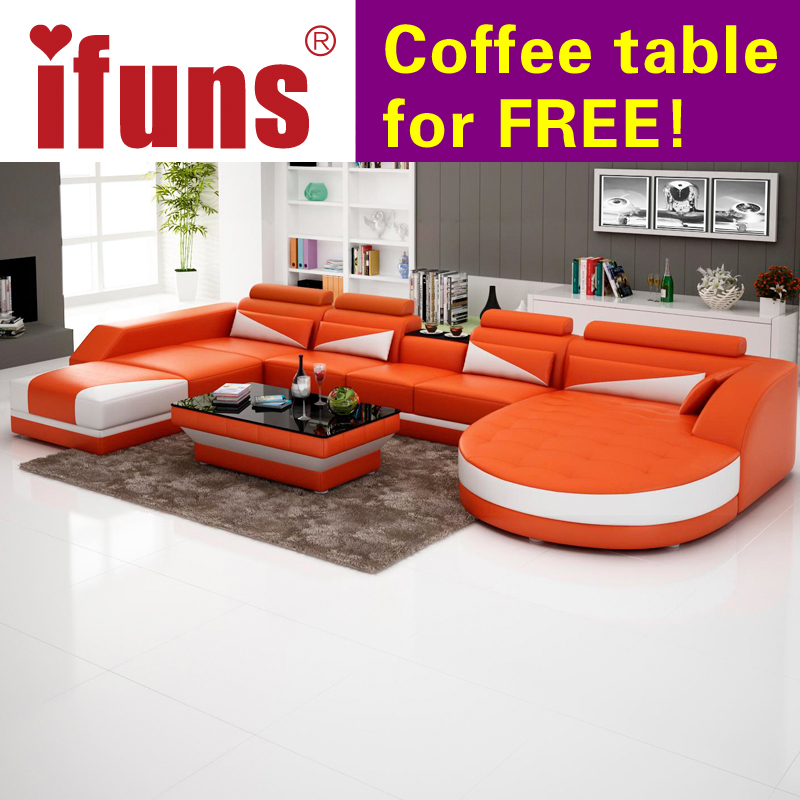 IFUNS Modern Luxury U Shaped Design Sofa Set Genuine Leather Sectiona Corner Recliner Living Room Furniture