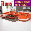 Ifuns moderno diseño conjunto de sofás de lujo en forma de u, cuero genuino sofá secciã, esquina reclinable sofá muebles juego de sala